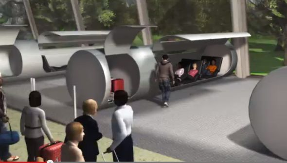 Long distance high speed travel by capsule in evacuated